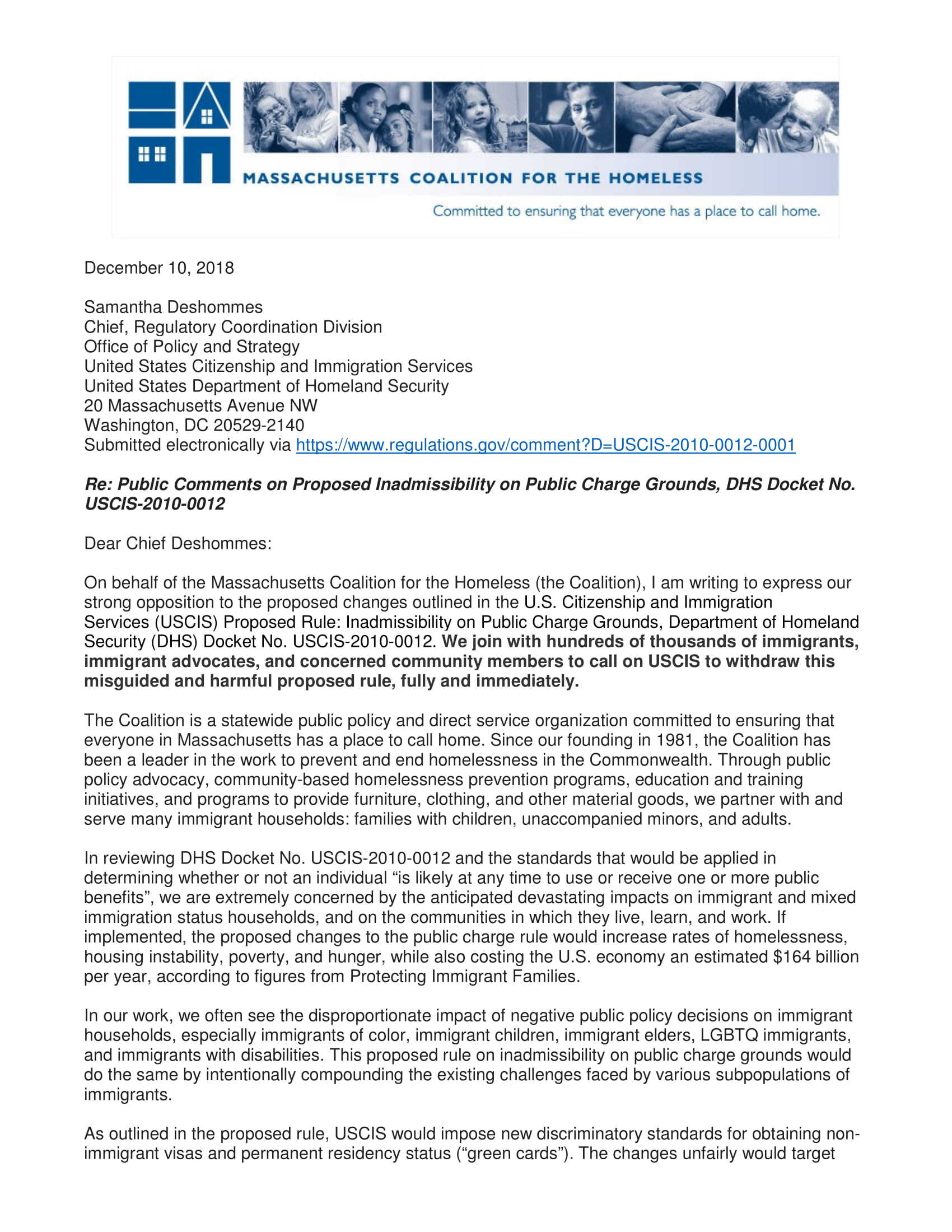 Attachment1 Public Charge Comments Massachusetts Coalition for the Homeless 1