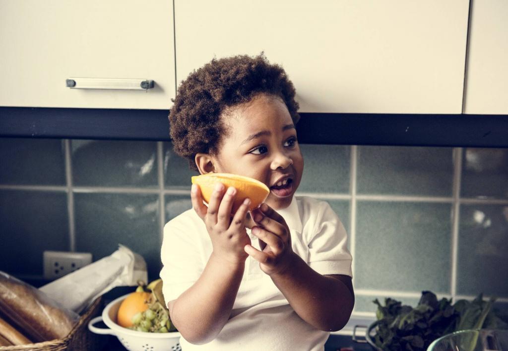 Black kid in the kitchen